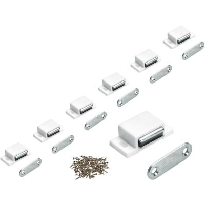 11 lbs. White Magnetic Door Catch with Counter Plate (25-Pack)