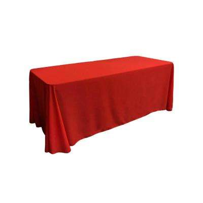 90 in. x 156 in. Red Polyester Poplin Rectangular Tablecloth