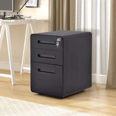 Black File Cabinet with Lock Fully Assembled Except Wheels