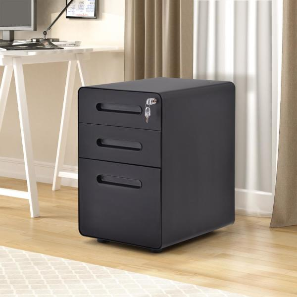 Merax Black File Cabinet with Lock Fully Assembled Except Wheels WF191010AAB