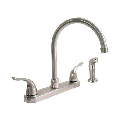 Dominion 2-Handle Standard Kitchen Faucet with Side Sprayer in Brushed Nickel
