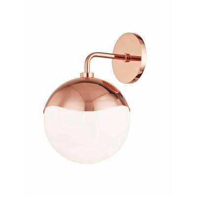 Ella 1-Light Polished Copper Wall Sconce with Opal Glossy Glass Shade