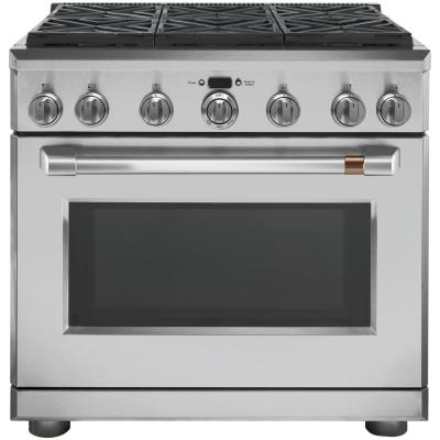 CAFE 36 in. 6.2 cu. ft. Gas Range with Self-Cleaning Convection Oven in Stainless Steel (Was $6099, Now $5489)