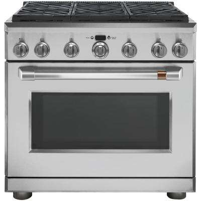 36 in. 6.2 cu. ft. Gas Range with Self-Cleaning Convection Oven in Stainless Steel