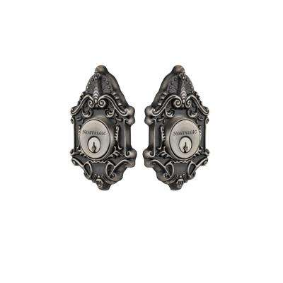 Victorian Plate 2-3/8 in. Backset Double Cylinder Deadbolt in Antique Pewter