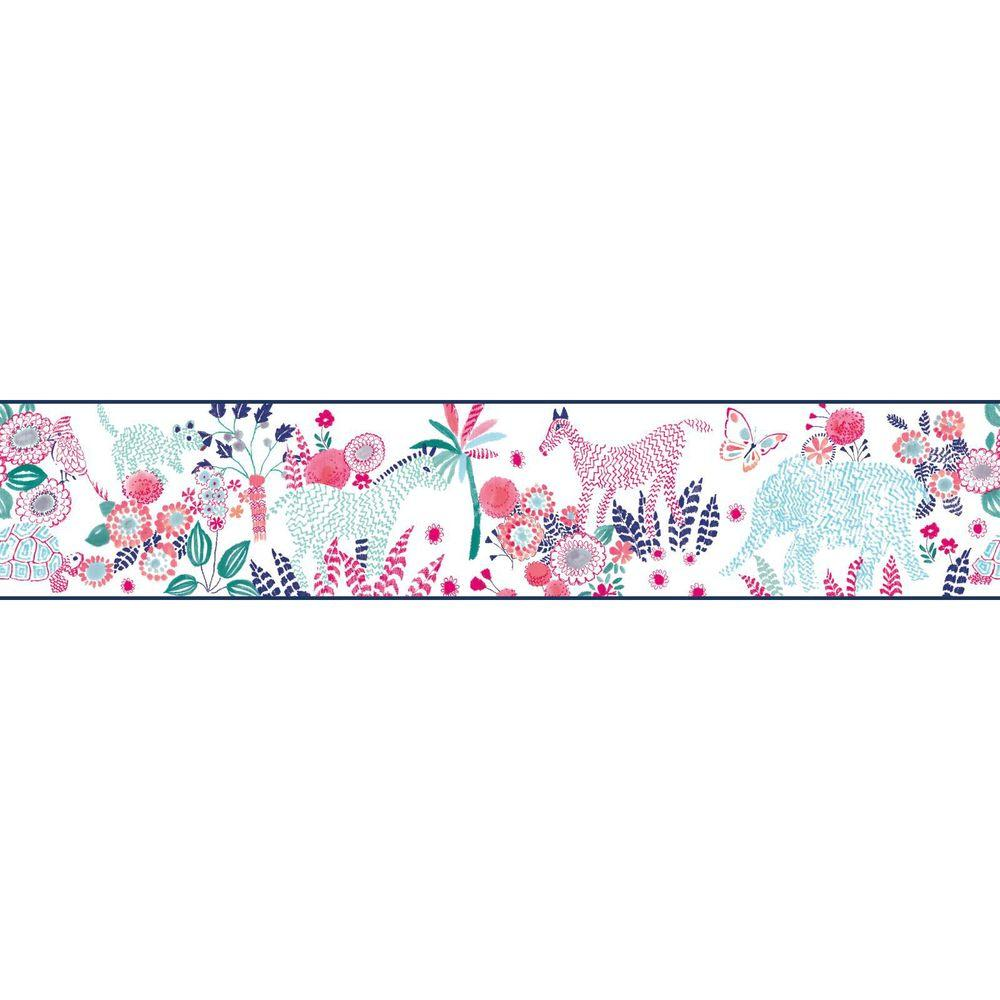 YORK Waverly Kids Day Dream Wallpaper Border, White/Blue/...