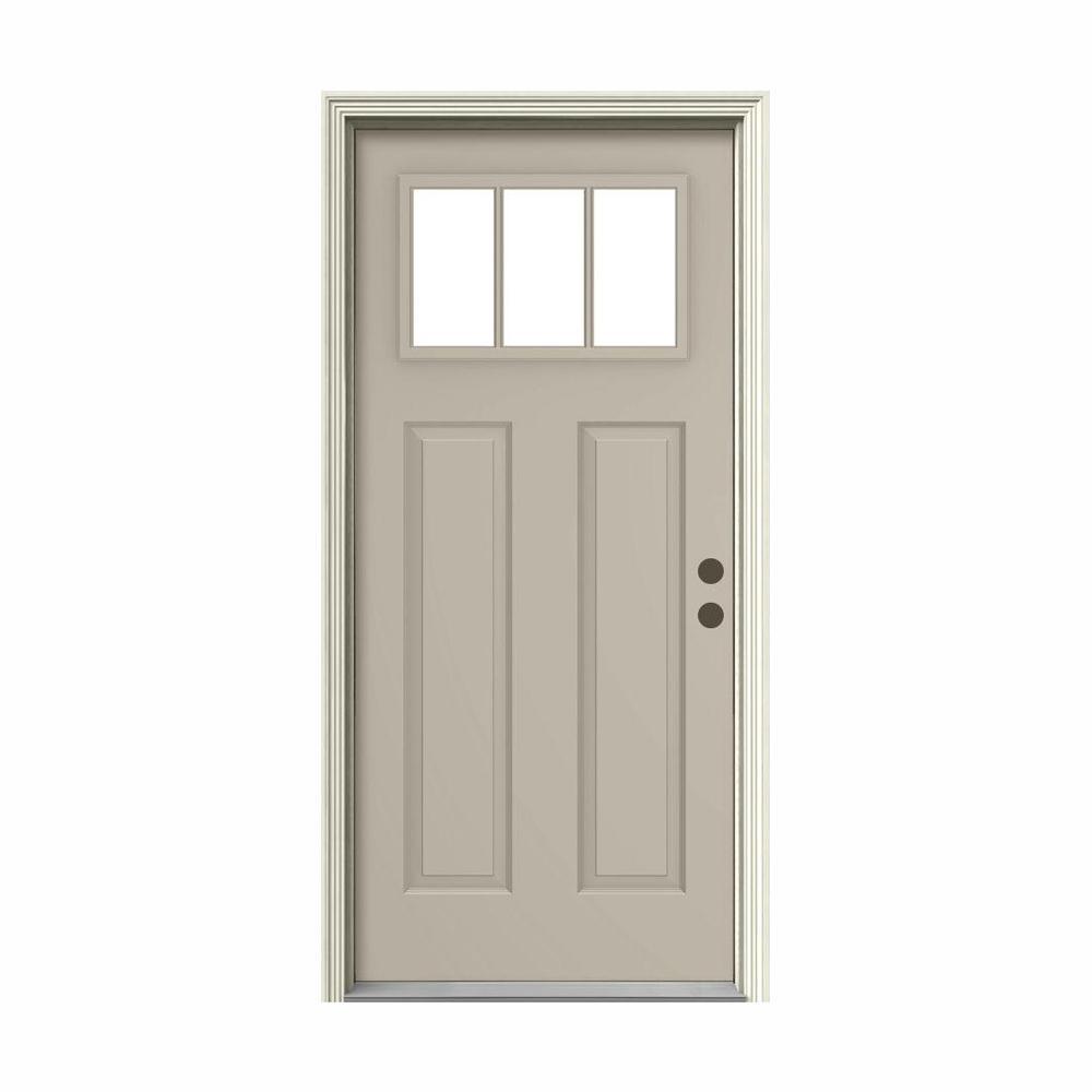 36 in. x 80 in. 3 Lite Craftsman Desert Sand Painted Steel Prehung Left-Hand Inswing Front Door w/Brickmould