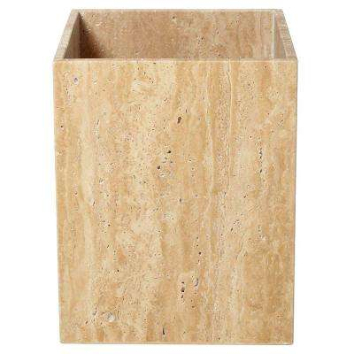 Roman Spa 9 in. Wastebasket in Travertine Stone