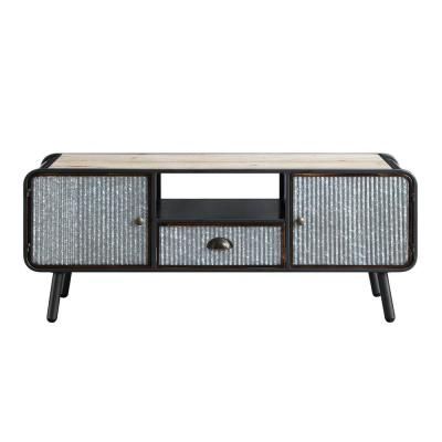 Stephens Brown and Black Corrugated Metal and Wood TV Stand