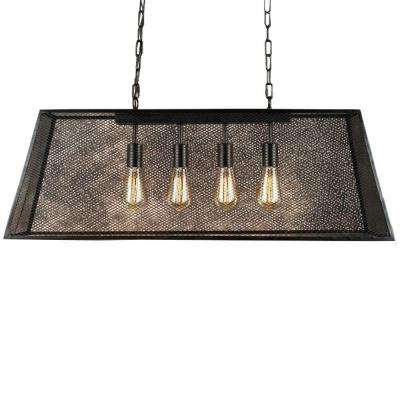 Lemuel 4-Light Black Indoor Edison Island Chandelier with Bulb