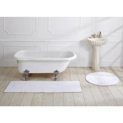 Lux Collection 20 in. x 60 in. White Cotton Bath Mat