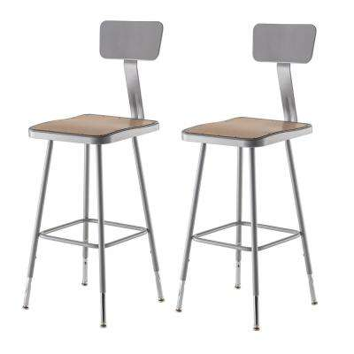 25 in. to 33 in. Height Adjustable Grey Heavy Duty Square Seat Steel Stool with Backrest (2-Pack)
