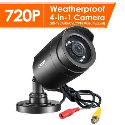 Wired 720p Indoor/Outdoor Bullet Security Camera with BNC Conversion 4-in-1 Compatible for TVI/CVI/AHD/CVBS DVR