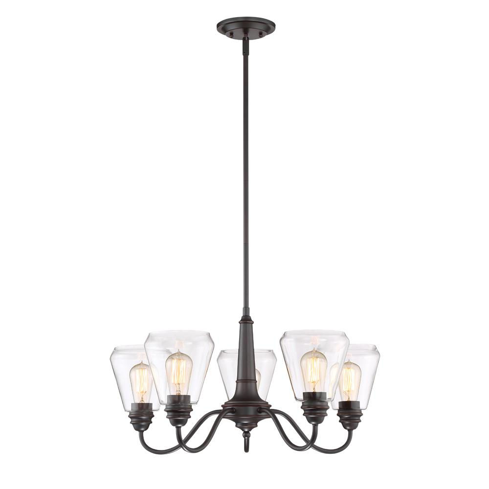 Designers fountain foundry 5 light satin bronze chandelier with designers fountain foundry 5 light satin bronze chandelier with clear glass shade aloadofball Choice Image