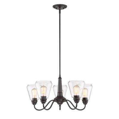 Foundry 5-Light Satin Bronze Chandelier with Clear Glass Shade