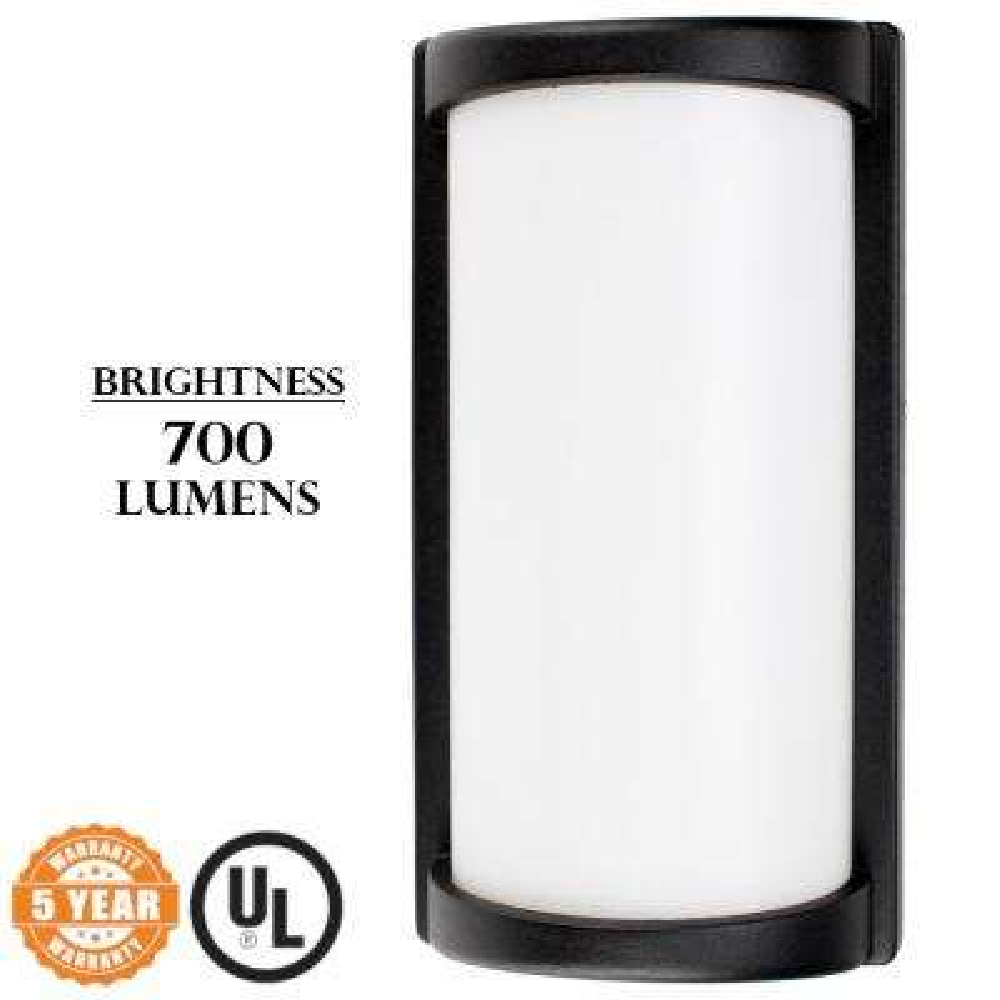 Wall Mount Light 7-Watt Black Outdoor Integrated LED Lantern