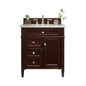 Brittany 30 in. W Single Bath Vanity in Burnished Mahogany with Marble Vanity Top in Carrara White with White Basin