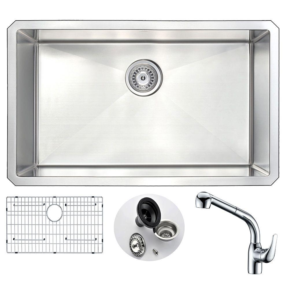 VANGUARD Undermount Stainless Steel 30 in. Single Bowl Kitchen Sink and