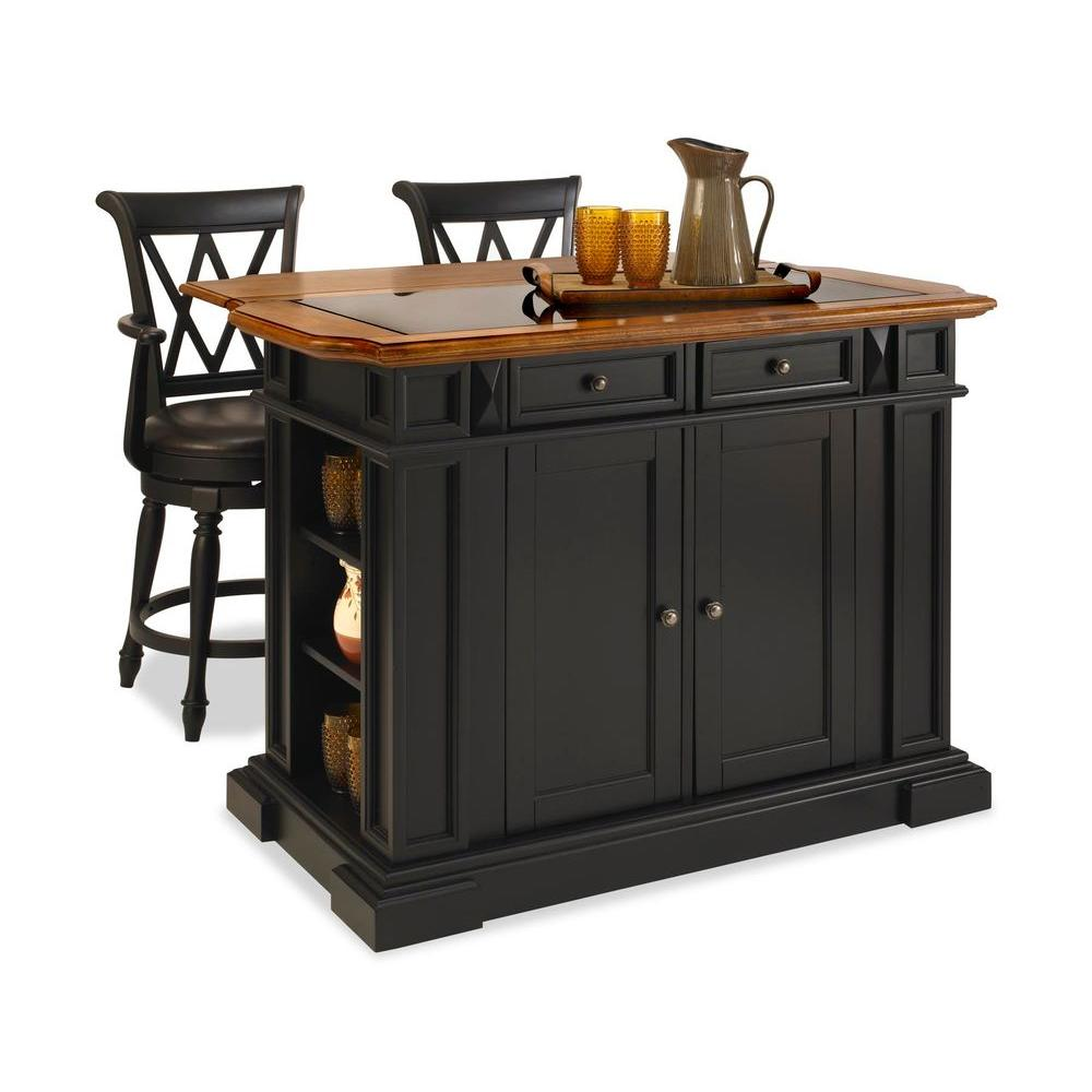 Home Styles Deluxe Traditions Island & Two Bar Stools - Black & Distressed Oak-DISCONTINUED