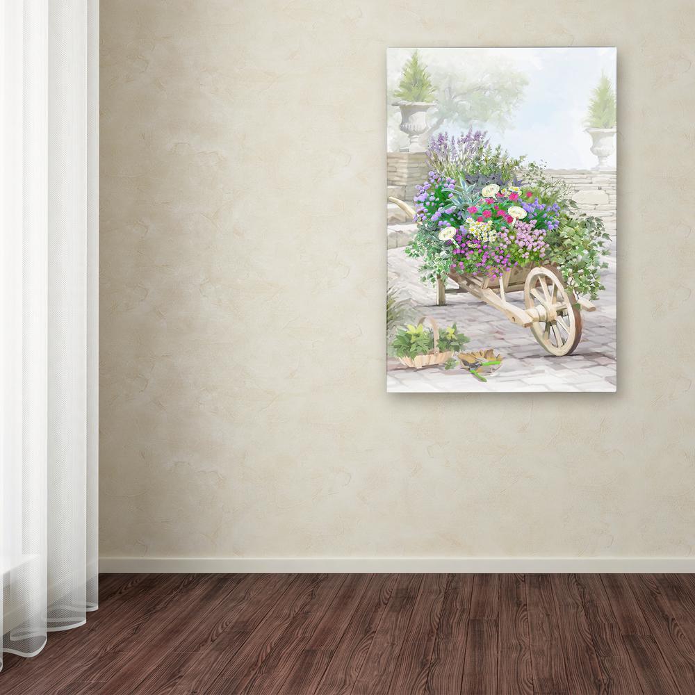 "32 in. x 22 in. ""Wheelbarrow Herbs"" by The Macneil Studio Printed Canvas Wall Art"