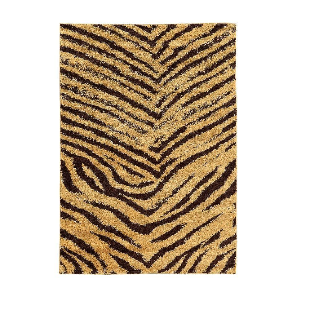 Linon Home Decor Moroccan Collection Sahara Camel and Brown 5 ft. x 7 ft. Indoor Area Rug