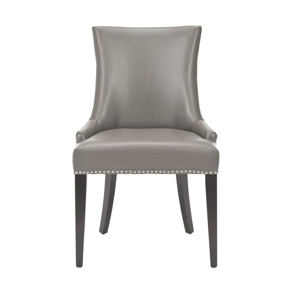 Great Becca Grey Leather Side Chair (Set Of 2)