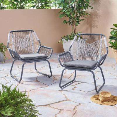 Milan Gray and White Armed Wicker Outdoor Lounge Chair with Gray Cushion (2-Pack)
