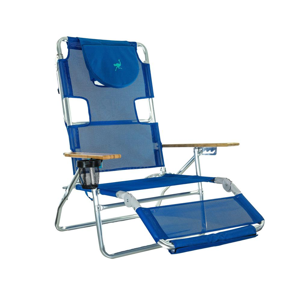 Ostrich 3-in-1 Blue Aluminum Folding Beach Chair