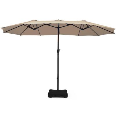 15 ft. Double Sided Outdoor Market Patio Umbrella in Beige