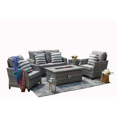 Maxwell 5-Piece Aluminum Wicker Patio Gas Fire Pit Conversation Set with Gray Cushions