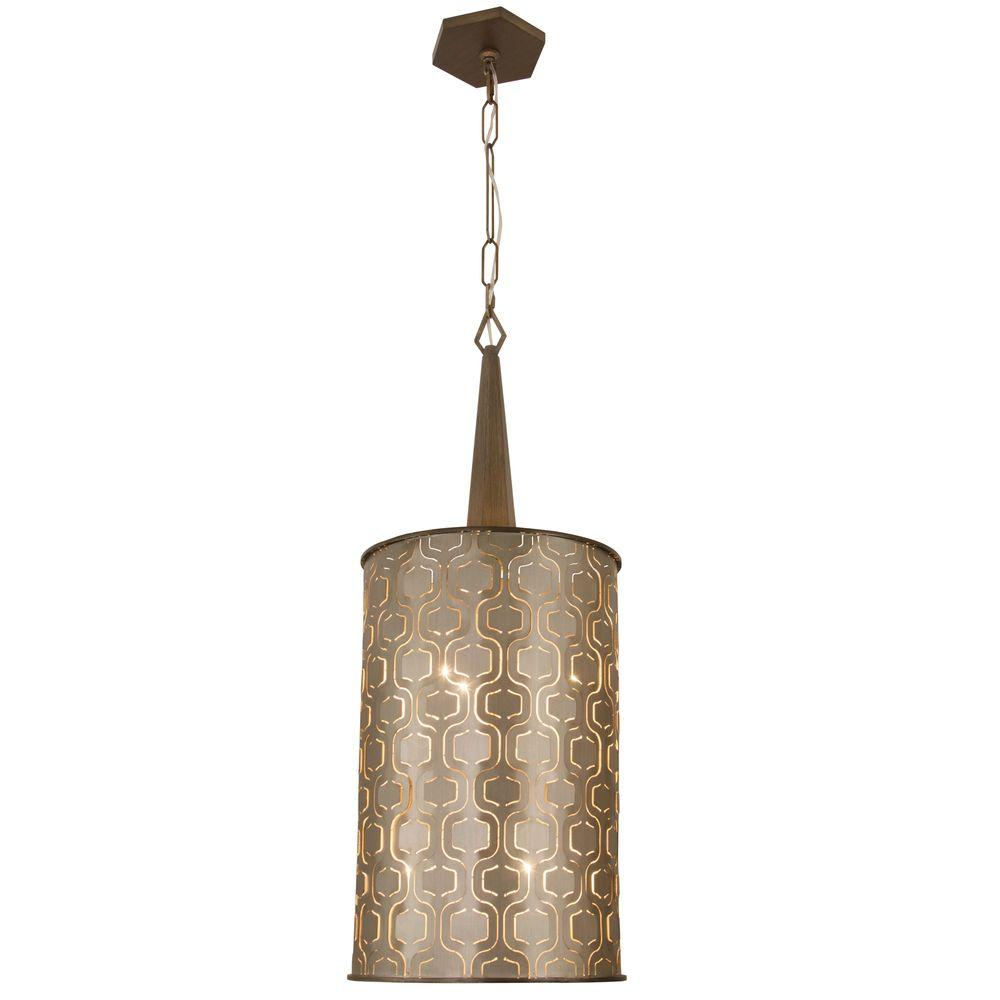 iconic lighting. Varaluz Iconic 6-Light Champagne Mist Tall Foyer Pendant With Recycled Steel Shade Lighting U