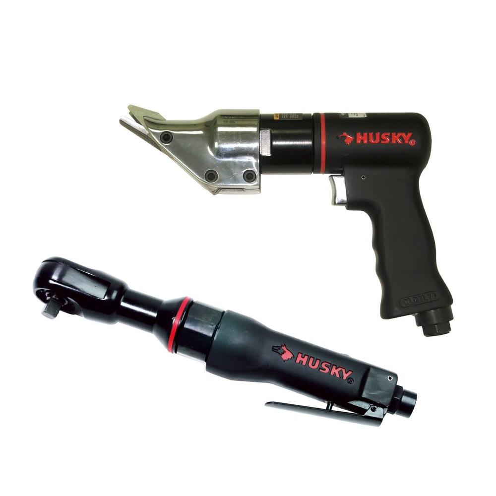 Husky 2-Piece Air Tool Kit with 3/8 in. Air Ratchet Wrench and 1800 SPM 18-Gauge Air Shears-DISCONTINUED