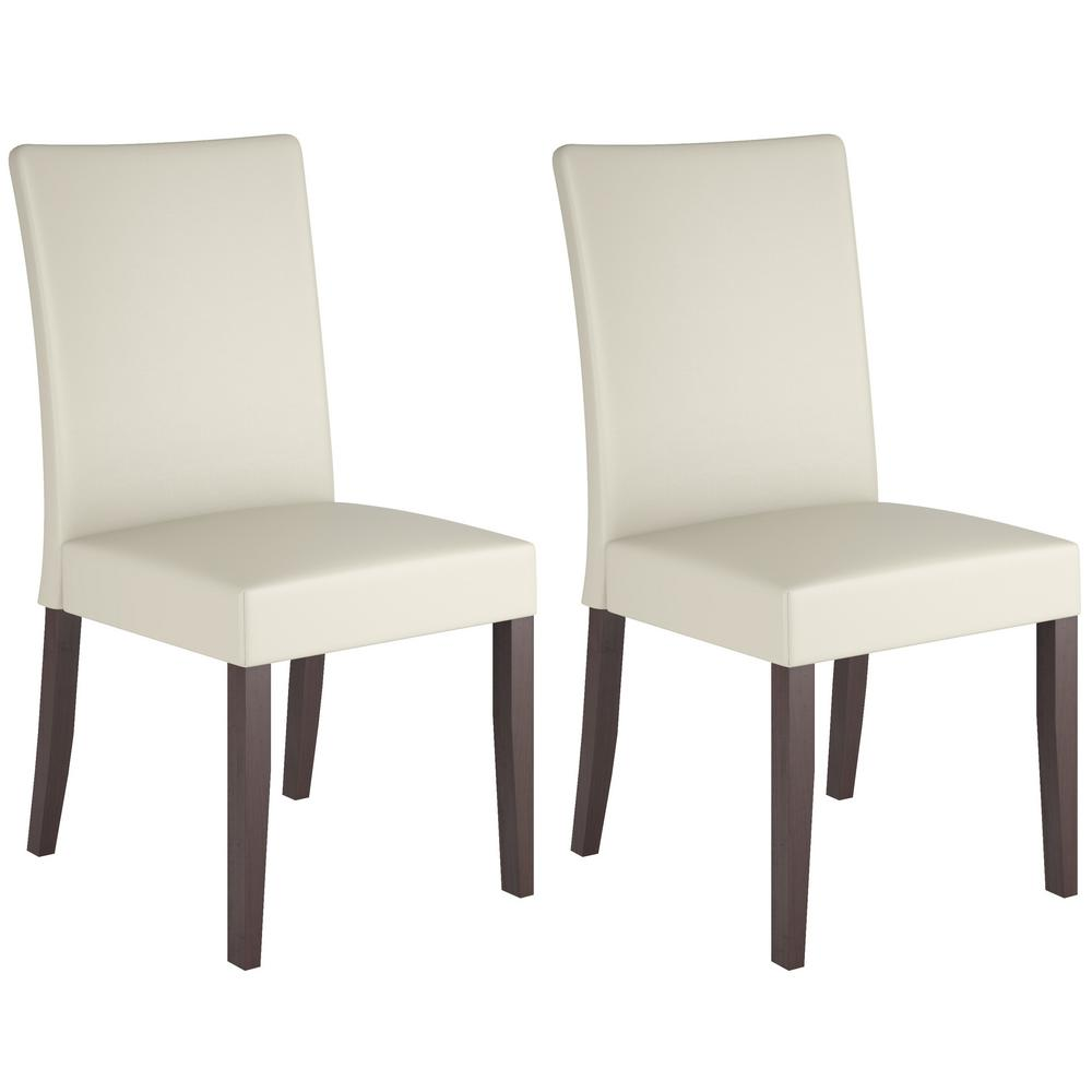 Atwood Cream (Ivory) Leatherette Dining Chairs (Set of 2)
