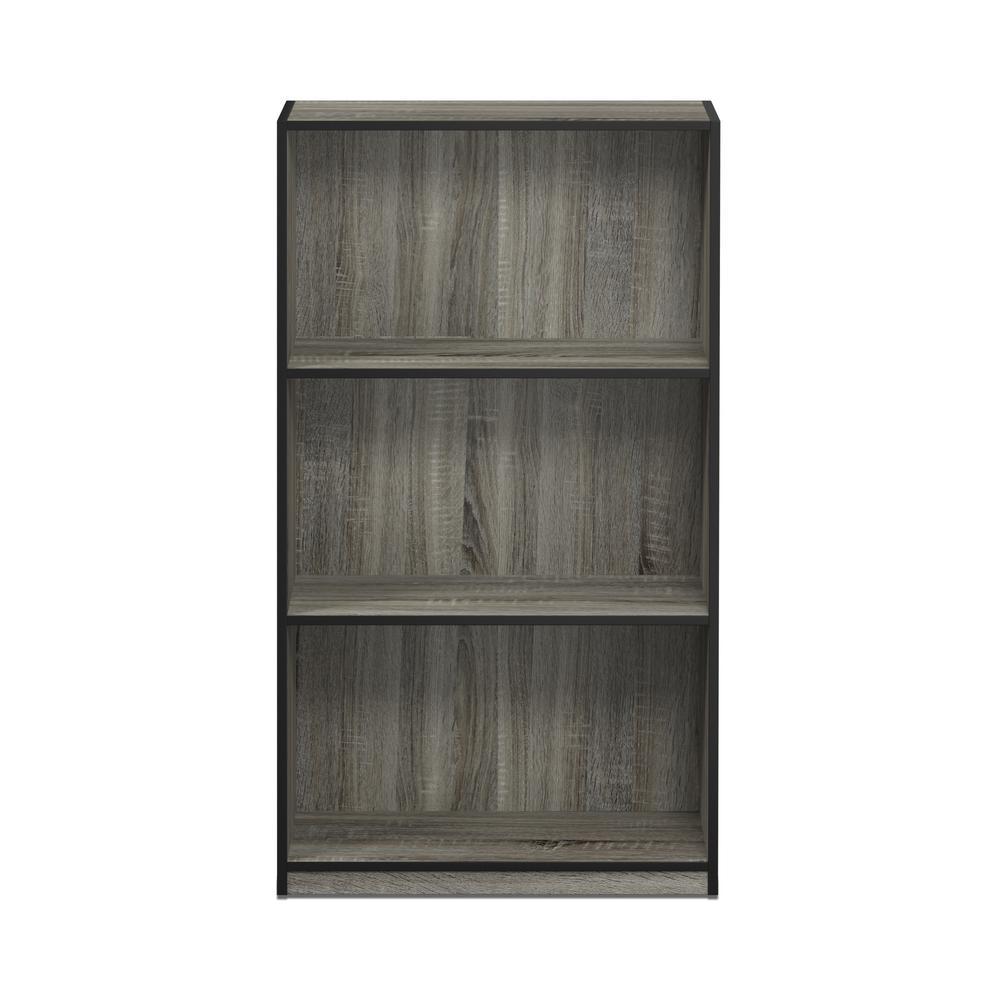 Furinno Basic French Oak Grey/Black 3-Shelf Open Bookcase 99736GYW(BK)