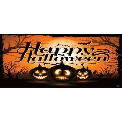 7 ft. x 16 ft. Night of the Jack-O'-Lantern Outdoor Halloween Holiday Garage Door Decor Mural for Double Car Garage