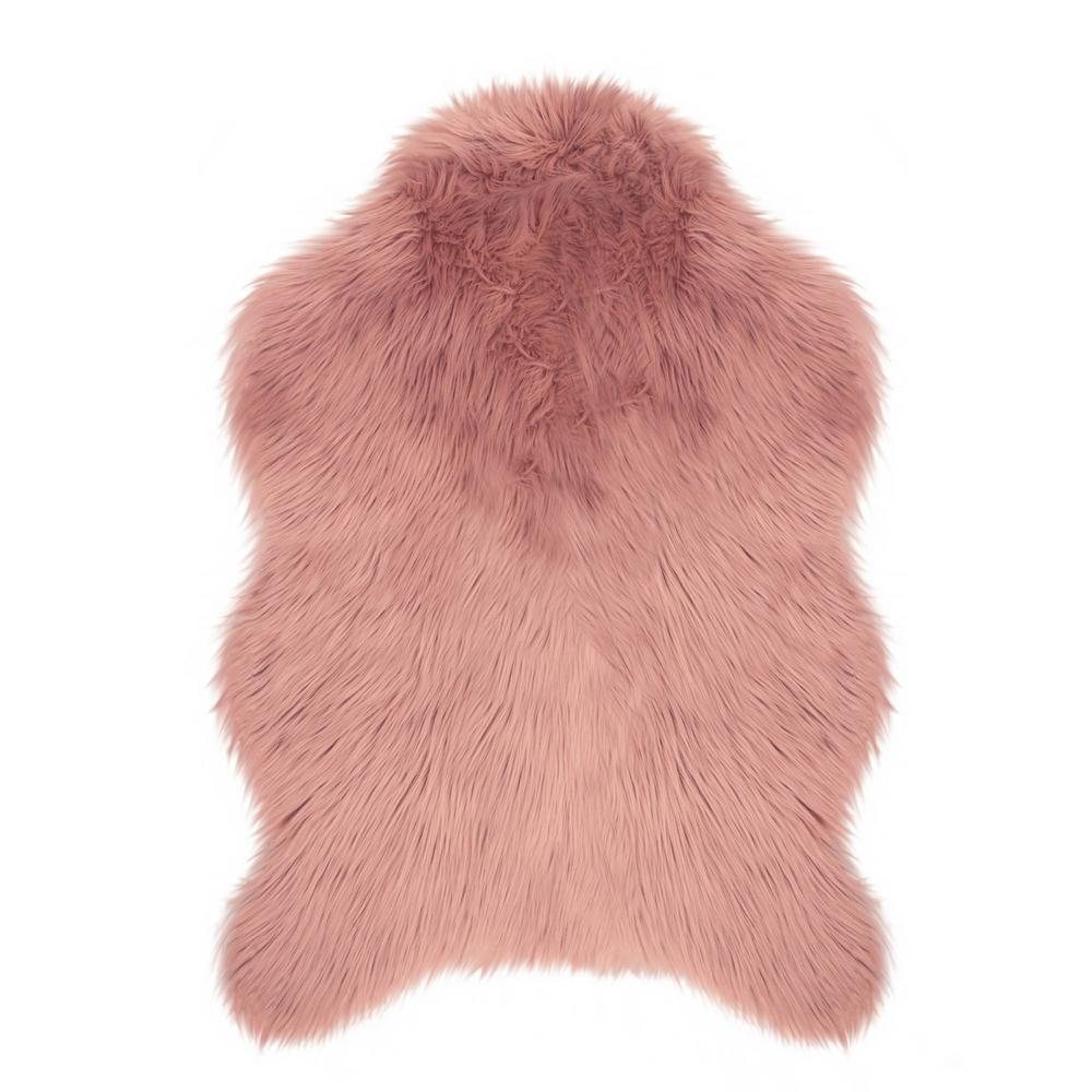 Jean Pierre Faux-Fur Blush 3 Ft. X 2 Ft. Area Rug