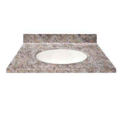 49 in. Cultured Granite Vanity Top in Fawn Color with Integral Backsplash and White Bowl