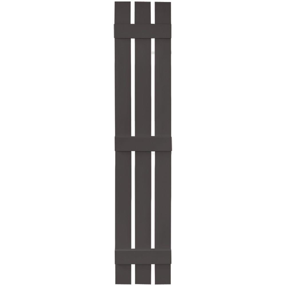 Builders Edge 12 in. x 71 in. Board-N-Batten Shutters Pair, 3 Boards Spaced #018 Tuxedo Grey