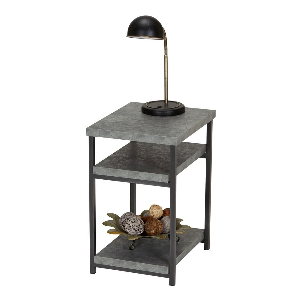 Household Essentials Gray Slate Faux Concrete Coffee Table With Storage  Shelf