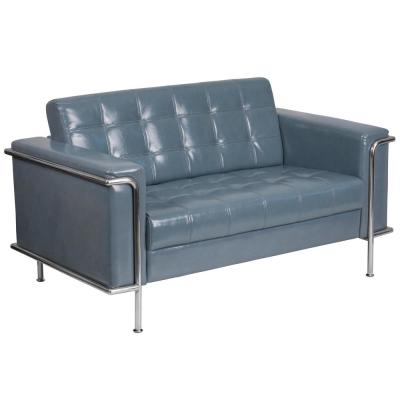 Hercules 59 in. Gray Faux Leather 2-Seater Loveseat with Stainless Steel Frame