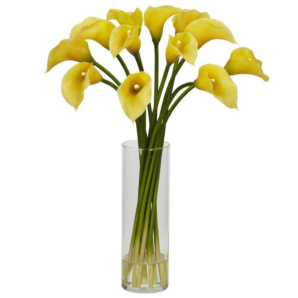20 In H Yellow Mini Calla Lily Silk Flower Arrangement 1187 Yl