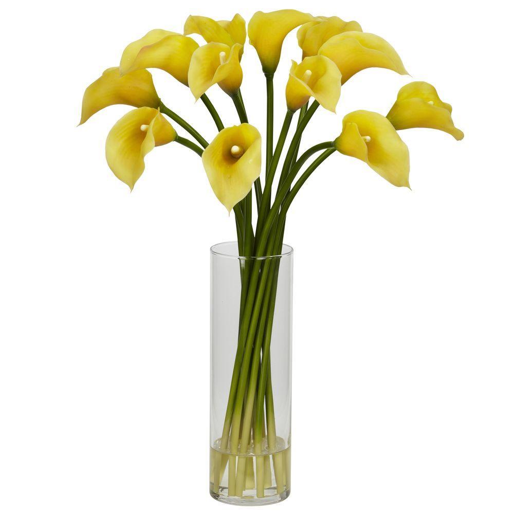 20 in h yellow mini calla lily silk flower arrangement 1187 yl h yellow mini calla lily silk flower arrangement izmirmasajfo