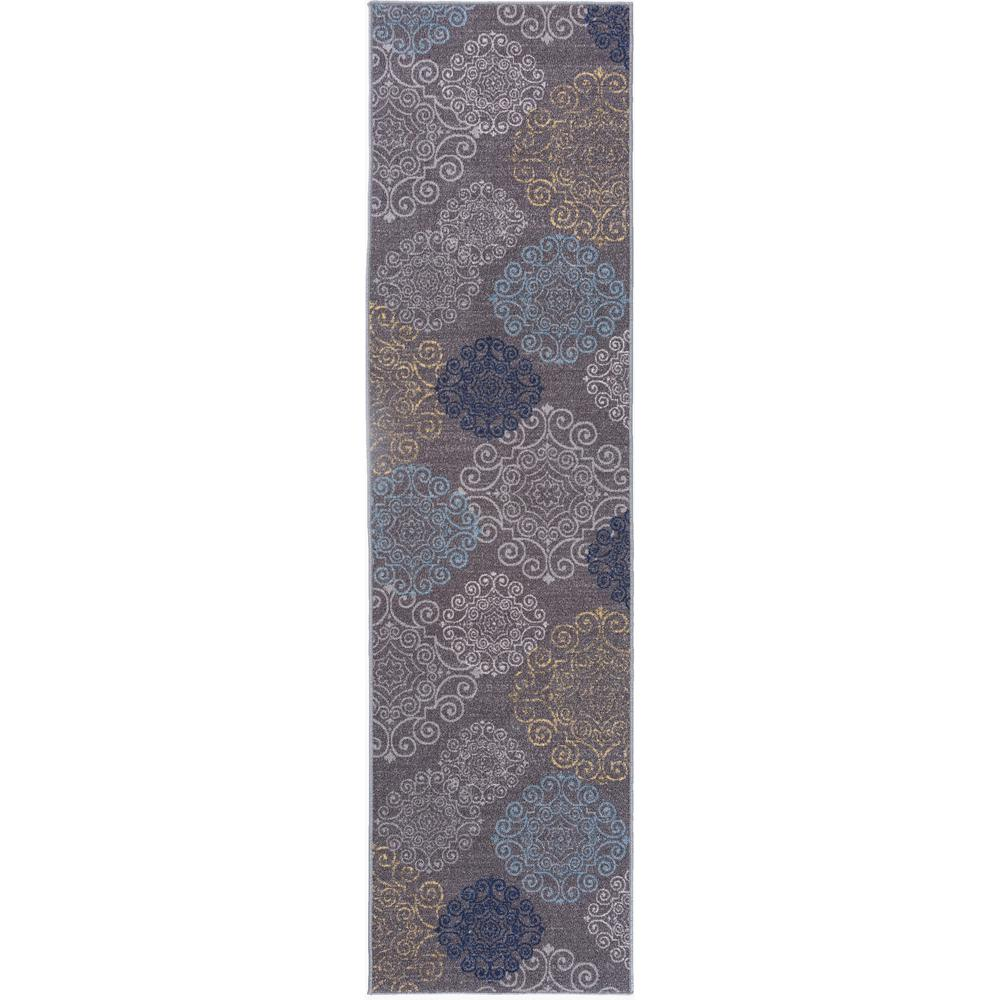 modern floral swirl design non slip non skid gray area rug runner 2 ft x 7 ft 508 gray 2x7. Black Bedroom Furniture Sets. Home Design Ideas