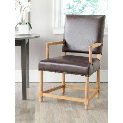 Faxon Antique Brown/Weathered Oak Bicast Leather Arm Chair