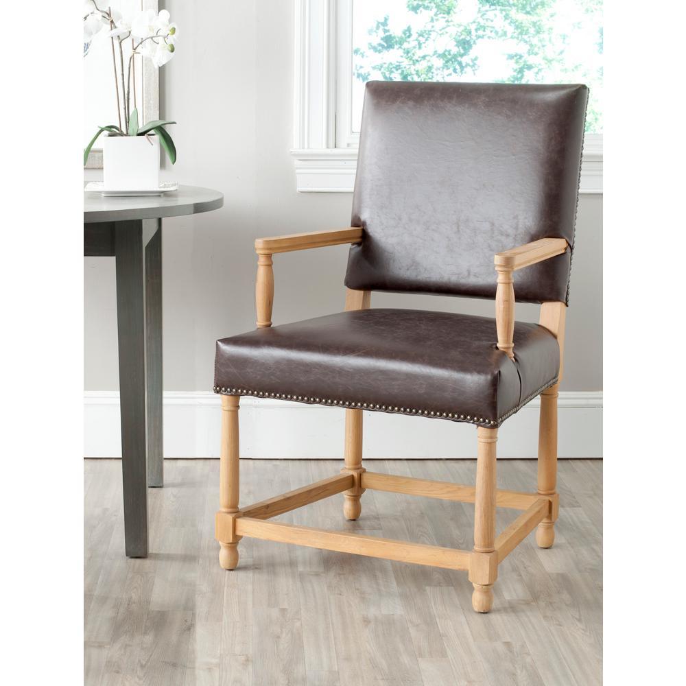 Safavieh Faxon Antique Brown/Weathered Oak Bicast Leather Arm Chair MCR4558B
