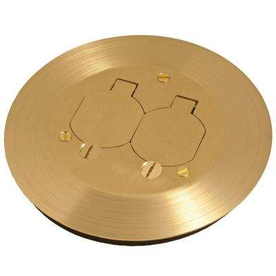 Round Floor Box Cover Kit with Two Lift Lids - For Use with 5511 Floor Box, Solid Brass