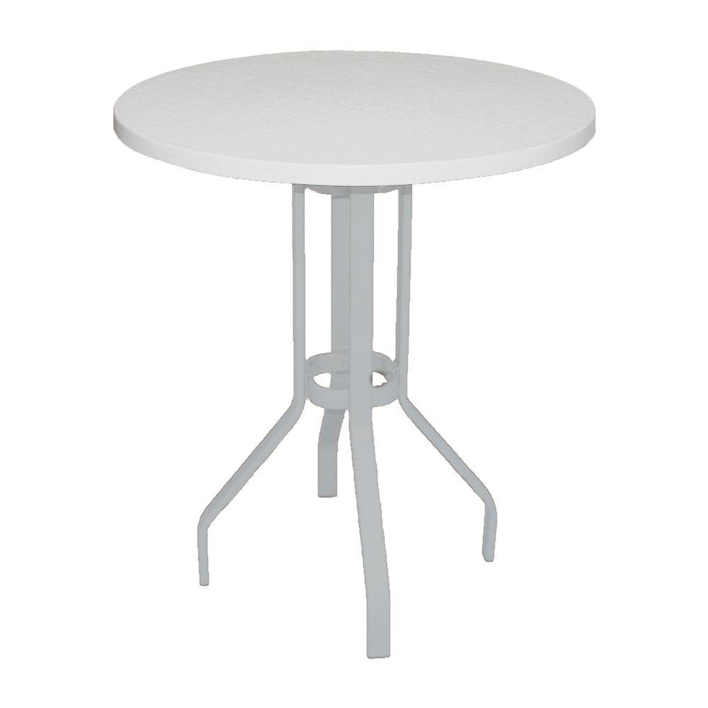Marco Island 36 In White Round Commercial Fiberglass Top Commercial Bar Height Metal Outdoor Patio Dining Table