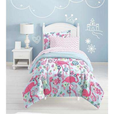 Flamingo 5-Piece Pink Twin Bed in a Bag Set