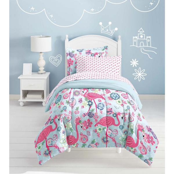 Dream Factory 5-Piece Pink Flamingo Twin Bed in a Bag 2A852101PK