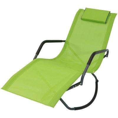 Gray Frame Folding Rocking Sling Outdoor Lounge Chair with Pillow in Green